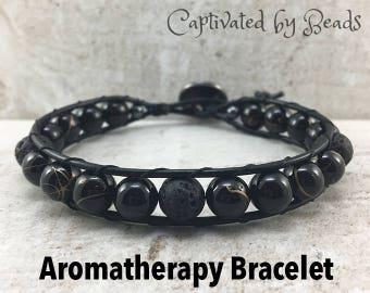 aromatherapy bracelet diffuser bracelet lava bead bracelet beaded bracelet beaded leather wrap boho bracelet essential oil bracelet wrap