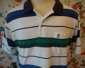 Vintage 80's Munsingwear Grand Slam Penguin Punk Rock Grunge Polo Collar Stripe Shirt Sz L