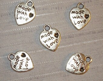 """Lot 10 """"Made with Love"""" heart charms"""