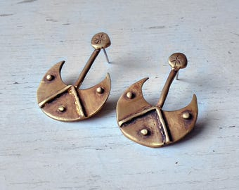 Moon and star oxidized brass earrings