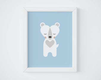 Bear Poster, Decor, Kid's Room, Baby, Birth Gift
