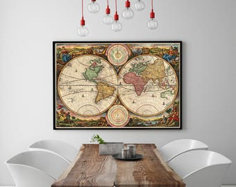 digital vintage 1730  Map of the World for home decor, wall decor