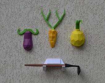 Vegan Trophies 4 in 1 pepakura papercraft sculpture