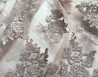 LightBrown Emroidered  Lace 2536color,French Lace,Chantilly lace for wedding,dance,high fashions hand made