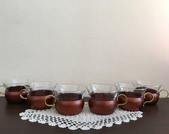 Podstakannik - set of 6 cups of coffee and tea - Never used- Vintage Podstakannik set of 6 cups of coffee or tea - glass holder Podstakannik