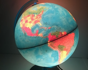 Vintage Earth Globe Light - Geographical World Globe - Vintage World globe - world globe lamp - Large globe lamp