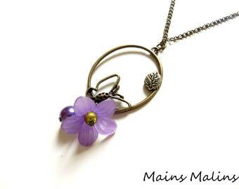The flight Butterfly purple flower necklace