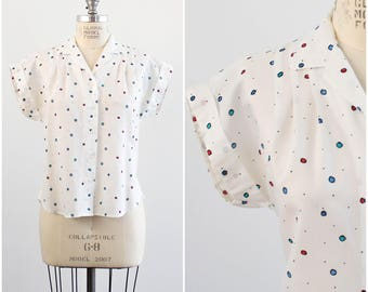 White Vintage Top with Colorful Polka Dots/ 80's Print/ Short Sleeve Shirt/ Small/ Medium