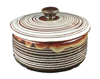 Retro Striped lidded dish from Broadway Pottery