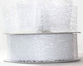 "White Mesh Ribbon- 1.5"" x 20 yds"