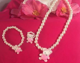 3 peice Teddy bear jewelry set for little girl