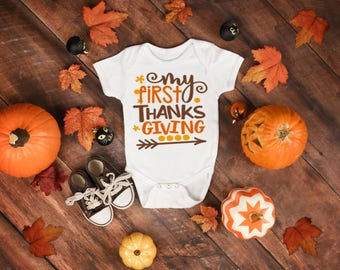 My First Thanksgiving Onesie®, Funny Onesies®, Funny Bodysuits, Baby, Baby Clothing, Baby Boy, Thanksgiving, Baby's First, Turkey, Arrow