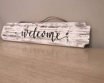 Welcome White Wash Wood Sign