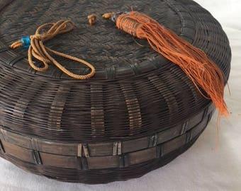 Vintage 1920's Chinese Wicker Sewing Basket