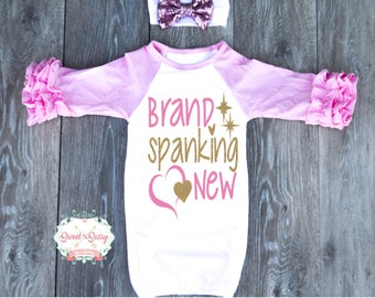 Baby coming home outfits, Baby Hospital Outfit, Newborn gown with optional headband, baby clothes, baby clothes girl ZG500