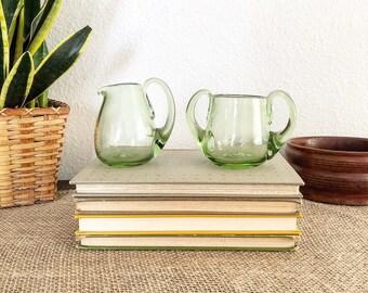 Vintage Retro Boho Style Green Glass Coffee or Tea Creamer and Sugar Set