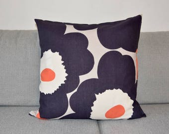 "New Handmade Marimekko Unikko Blue and Grey Floral linen pillow case, cushion cover 18"" 45 cm and 20"" 50cm, Design Finland"