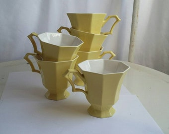 Independence Ironstone Interpace Japan Cups Set of 6 Yellow