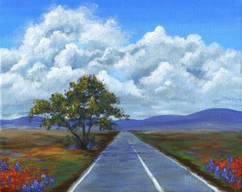Texan Highway 8x10 Acrylic Painting