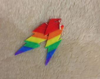 Gay Pride Lightning Bolt Earrings