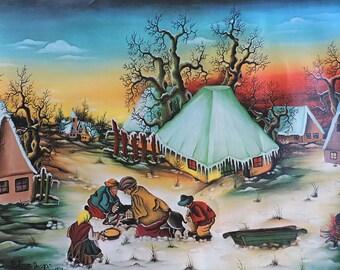 "Croatian Naive Art Print ""Kolenje!!"" by Bobovec Dragan, 1974 Photomechanical Print on Canvas, Colorful Primitive Croatian Art Print"
