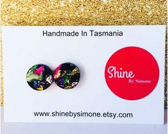 Rainbow Acrylic Earrings , glitter earrings , round earrings , statement studs , party earrings , surgical steel , pink earrinngs , pretty