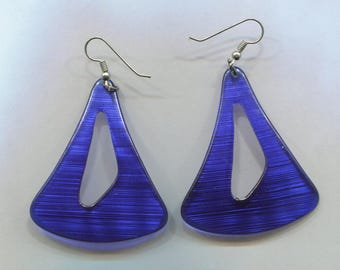 Blue Plastic Triangle Pierced Earrings, 1 3/4 in. Wide At Their Widest Point by 2 in. Long