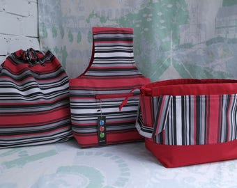 Set of 3 Sock project bag Drawstring knitting bag Knitting project bag Yarn project bag Knitters gift bag Project tote Crochet project bag