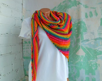 Rainbow Knitted Shawl Knitted shawl Rainbow shawl Knitted scarf Rainbow scarf Boho shawl Hand Knit Shawl Triangle scarf Beach shawl Gypsy