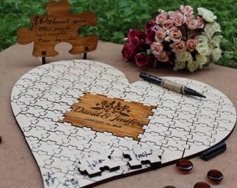 Rustic Wedding Guest Book Alternative Custom Guest Book Rustic Guest Book Wedding Guestbook Alternative Wedding Guest Book Heart Puzzle