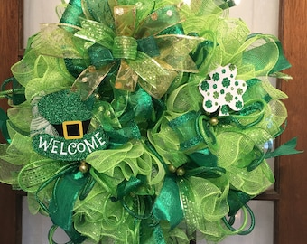 St. Patrick's Day Welcome Deco Mesh Wreath