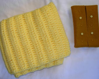Yellow Yarn Handmade Knitted Crocheted Scarf and Mustard Felt Portable Tissue Pouch, luxurious, elegant, gift