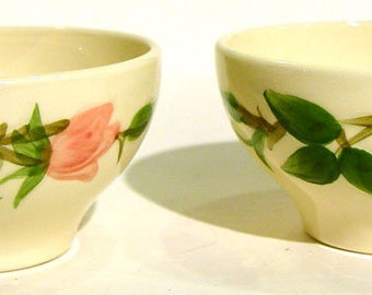 Pair of Vintage 1960's Franciscan Desert Rose Pottery Flat Tea Cup