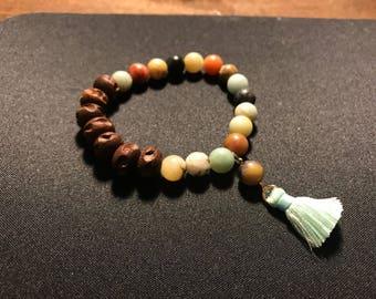Beaded bracelet // amazonite bracelet // wood beaded bracelet // boho tassel bracelet