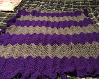 Purple and Grey Twin Afghan