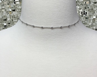 Dainty Beaded Choker Necklace | Sterling Silver Bead Strand Choker | Sterling Silver Choker Necklace | Choker | Dainty Choker