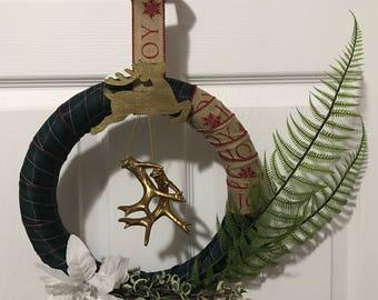 Christmas Wreath, Reindeer, Holiday, Poinsettia, home decor, front door wreath, entryway wreath