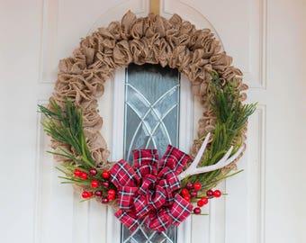 Burlap wreath, Rustic wreath, Christmas wreath, Antler, front door wreath, red bow wreath holiday wreath