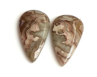 Crazy Lace Agate Pear Pair Cabochon,Size- 22x13 MM, Natural Crazy Lace Agate , AAA,Quality  Loose Gemstone, Smooth Cabochons.