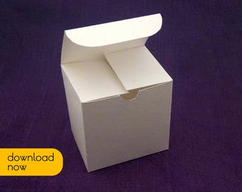 PDF gift box, Blank box, printable template, square box, wedding favor box, party favor box, shower favor box, DIY