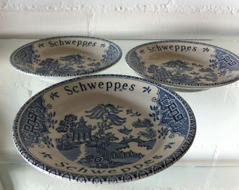 3 Schweppes Blue Willow Apero bowl/small plate