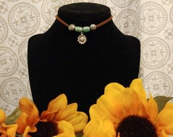 Boho Sunflower Choker with Accent Beads