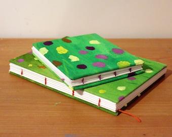 Polka dot grass - Handmade Hardcover Sketchbook/ Journal
