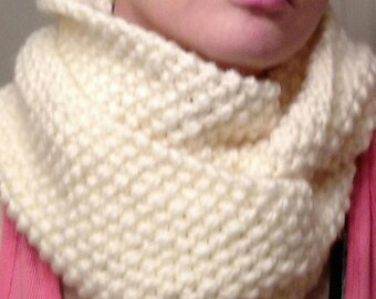 Hand Knitted Scarf, Hand Knitted Cowl, Double Wrap Cowl, Textured Scarf, Ivory Cowl, Off White Cowl, Wool Blend Scarf, Hand Knitted Gift
