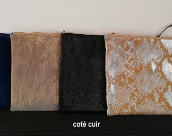 Clutch bag in leather and wax