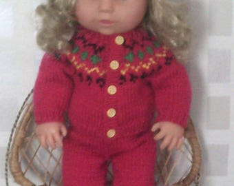 Doll with winter outfit, Tiny Tears, hat cardigan leggings and pumps - price includes doll - can sell outfit without doll too