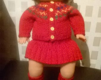 Rare Famosa Doll with winter outfit, hat cardigan leggings and pumps - soft body - price includes doll - can sell outfit without doll