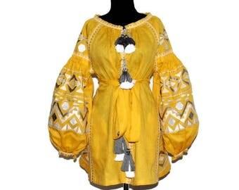 Embroidered boho dress Kilim Vyshyvanka Mini Bohemian Linen Ukrainian Dresses Custom Ethno Outfit Folk Embroidery