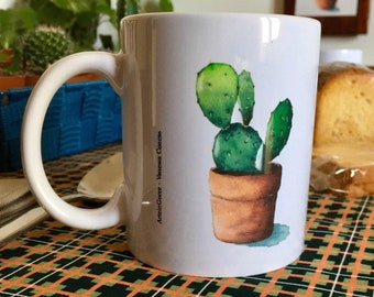 Breakfast mugs with watercolor print succulent plants
