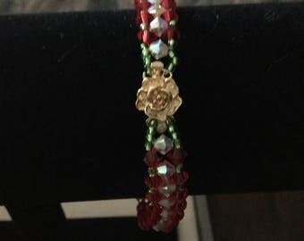 Handmade Red/Green Beaded Bracelet